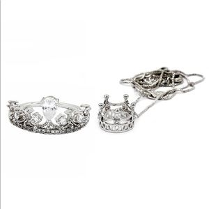 Fashion silver crown crystal ring necklace set